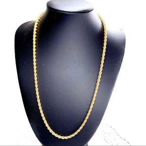"""14K GOLD FILL ROPE CHAIN NECKLACE 20"""" UNISEX"""